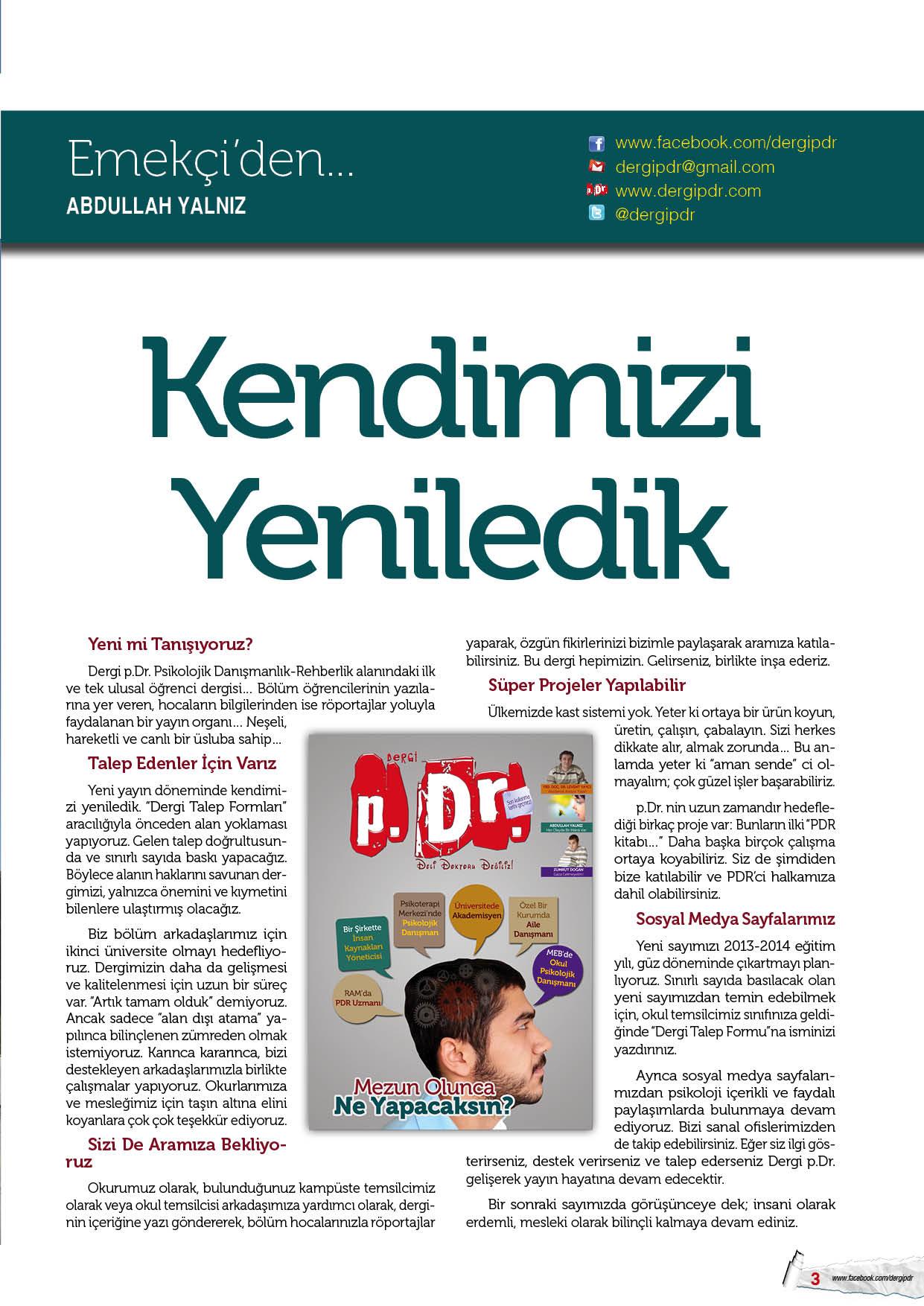 Dergi p.Dr. Kendini Yeniledi
