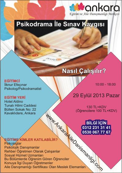 """""""Psikodrama İle Sınav Kaygısı Nasıl Çalışılır?"""" İsimli Eğitim Programı Ankara'da Yapılıyor"""