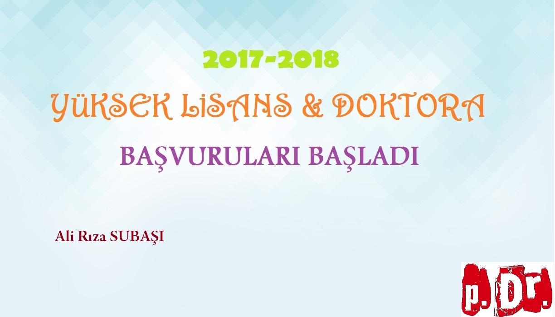 PDR YÜKSEK LİSANS & DOKTORA BAŞVURULARI DEVAM EDİYOR (2017-2018 YILI)