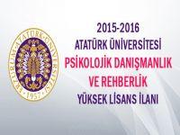 2015 2016 Atatürk Üni PDR Yüksek Lisans İlanı