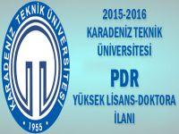 2015 2016 Karadeniz Teknik Üni PDR Yüksek Lisans/ Doktora