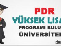 PDR Yüksek Lisans Programı Bulunan Üniversiteler